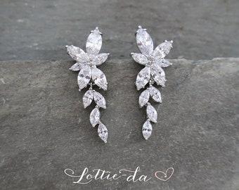 Silver Vintage Style Bridal Chandelier Wedding Earrings, Marquise Deco earrings, 1920s Earrings, Hollywood Wedding earrings - IVY'