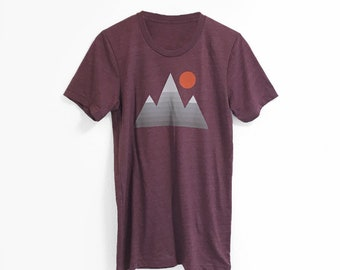 Minimalist Mountain Graphic T-Shirt • Short Sleeve Unisex Shirts • Outdoor Graphic Tee • Ski Snowboard Climb Hike • Printed in our USA loft