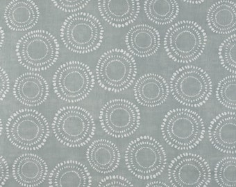 "0.5 yard Oilcloth - Laminated waterproof Cotton tablecloth 52"" grey circles"