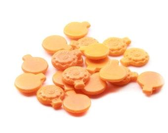 Lot (18) 21mm Czech Deco vintage hand molded orange flower disc pendant glass beads
