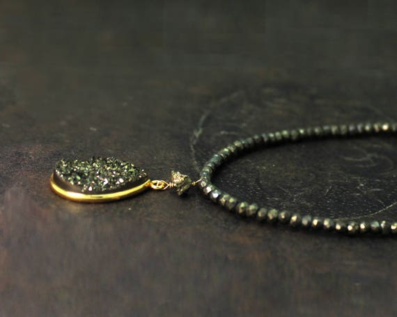 Raw Druzy Necklace, Long Pyrite Necklace. Beaded Necklace. Neutrals and Earthtones. Brown and Gold. N2500