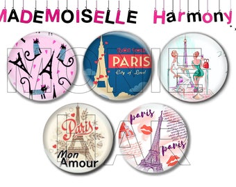 5 cabochons made of glass 20 mm eiffel tower