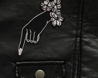 Victorian Mourning Floral Embroidered Hand Patch