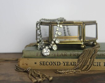 vintage brass + glass footed display case - jewelry box, casket box, french boudoir, Neo-Victorian, trinkets, curio, coffret