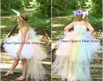 Pastel Unicorn Bustle Tutu Dress - Girls Size 6 12 Months 2T 3T 4T 5 6 7 8 9 10 12 Birthday Kids Halloween Costume - Colorful Pony Mane Horn