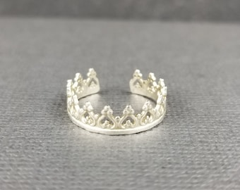 Sterling Silver Princess Crown Toe Ring Body Jewelry Gothic Crown summer Accessory made in canada