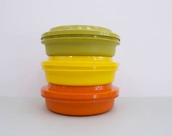 Tupperware canisters, set of three