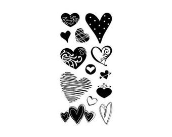 Inkadinkado Clear Acrylic Stamp Set - HEARTS 1 - CS042