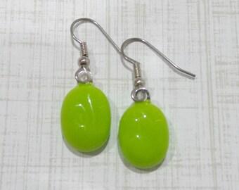 Bright Green Earrings, Lime Green Earrings, Green Dangle Earrings, Fused Glass Jewelry, Ready to Ship - Rollie  -7
