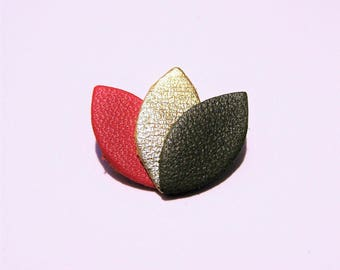Red, gold and Green Khaki leather brooch