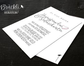 """Karte / Freundschaftskarte / Geburtstagskarte / Glückwunschkarte / Postkarte """"Freundin / Seelenschwester"""" , A6"""
