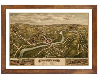 Naugatuck, CT 1877 Bird's Eye View; 24x36 Print from a Vintage Lithograph