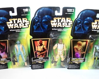 Vintage Star Wars Power of the Force Greedo 2-1B Medic Droid Bossk MINT Action Figures 1995 MOC