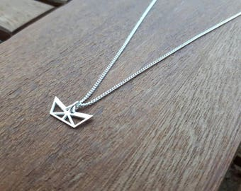Sterling Silver Origami Sailboat Necklace/Origami Necklace/Sailing gift/Origami/Sailboat Jewellery/Sail/Sea/Yacht