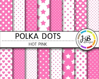 Polka Dots Digital Paper, Hot Pink, Pink, White, Dots, Hearts, Stars, Digital Paper, Digital Download, Scrapbook Paper, Digital Paper Pack