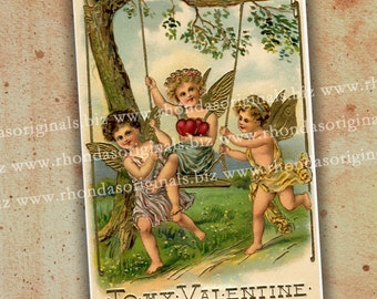 Valentine Cherub Digital Postcard INSTANT Download - Cherubs Swing For ATC Aceo Scrapbooking Greeting Cards Tags Paper Art And Crafts PC09PC