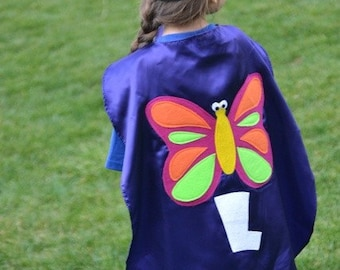 Childrens Costume Personalized  Superhero Butterfly Princess Kid Cape