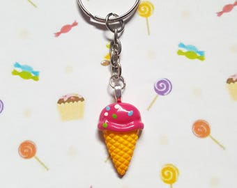 Ice cream keyring, Ice cream bag charm, Novelty keyring, Ice cream, Ice cream cone, Summer keyring, Holiday keyring, Beach, Seaside