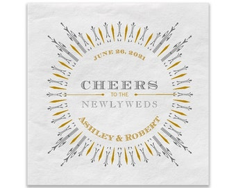 Personalized Art Deco Wedding Cocktail Napkins