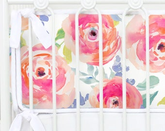 Bright Summer Blooms Baby Bumpers | Watercolor Floral | Bright Summer Blooms Collection