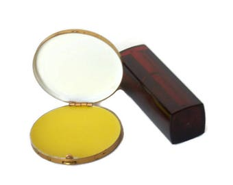 Vintage Compact with Leather Lid, Beeswax Perfume, Botanical Perfume, Vintage Compact, 1950s Compact,