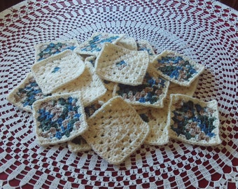 Set of 25,Granny,Squares,Crochet,Cream,Blue,Green,Tan,Supplies,Crafts,Clothing,Fiber,Yarn