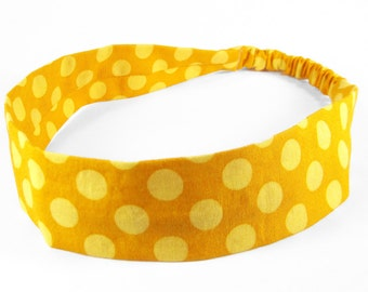 """Fabric Headband - Mustard Dot - Pick your size - fit toddlers to adults - 1-1/2"""" wide"""