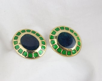80's Gold Large Abstract Clip On Earrings