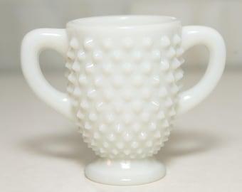 Vintage Fenton Hobnail Milk Glass  - Footed Open Sugar
