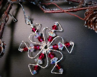 Red Crystal Snowflake Necklace, Gift for Her, Sterling Silver Snowflake Ornament, Christmas Gift, Solstice Gift, Stocking Stuffer, Swarovski