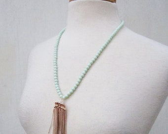 Mint Life Necklace - mint green glass beads and rose gold tassel on long necklace