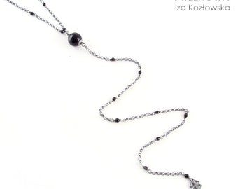 Graphite thread - onyx - long necklace - chain and onyx
