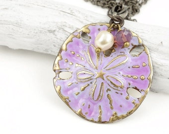 Sand Dollar Necklace Lavender Purple Pearl and Sand Dollar Pendant Beach Jewelry Beach Wedding Jewelry Summer Ocean Necklace Unique Gift