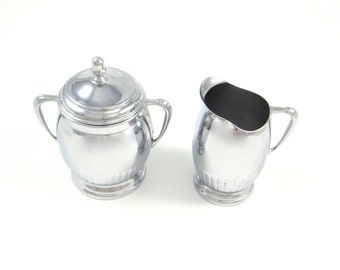 Vintage Chrome Sugar and Creamer by Farber Brothers