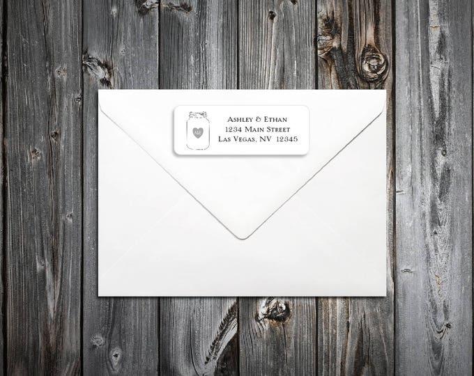 100 Mason Jar Wedding Return Address Labels. Personalized self stick label