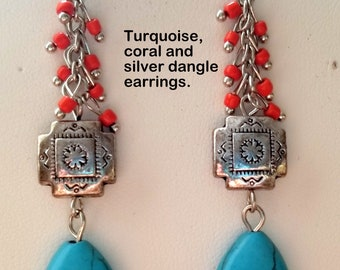 Turquoise, Coral and Silver Earrings