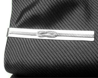 Infinity tie bar Forget Me Knot tie bar Sterling silver tie bar clip love knot tie bar mens tie bar skinny tie bar