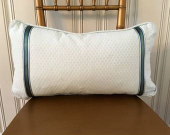 Light Blue Dot Lumbar Decorative Throw Pillow with Ribbon Stripe Trim 21 x 12
