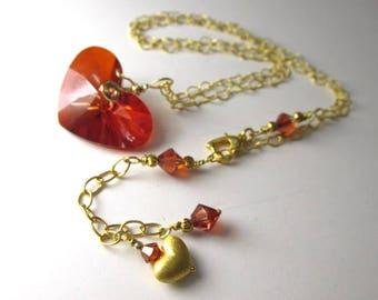 Swarovski Crazy 4 U Red Magma Heart Necklace on 14k Gold Fill