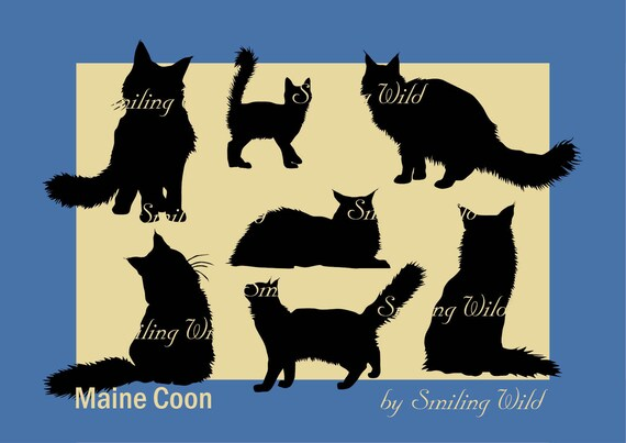 Maine Coon Cat Silhouette Svg Clipart Mainecoon Kitten Vector