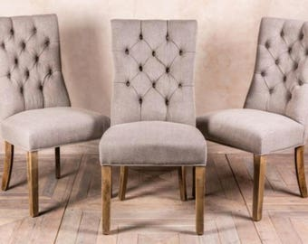 Upholstered Button Back Dining Chair Grey