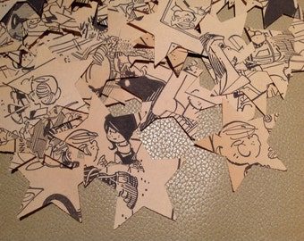 Confetti Hand Punched from Vintage Dennis the Menace Book Pages Over 500 Star Punches - Rippy Bits by TangoBrat Ready to Ship