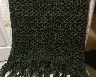 Dual color Acrylic yarn Crochet Throw/Shawl