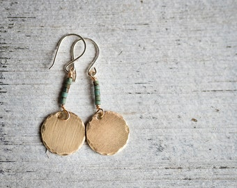 Brass & Turquoise Dangle Earrings, Brass and Turquoise Earrings, bohemian jewelry, Give back, brass turquoise,  rustic earrings,