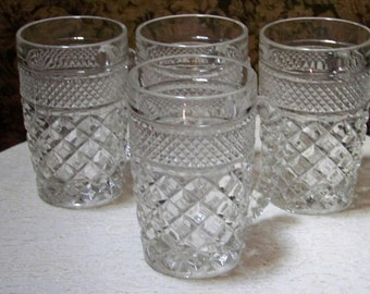 Vintage Wexford Clear Glass Mug - Set Of 4