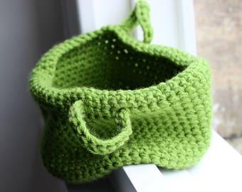 Green Crochet Storage Basket