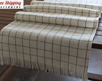 100% natural linen plaid table runner White grey long table runner Dining room table runner Dining table decor Country rustic table runner