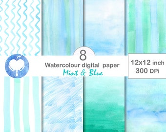Digital Watercolor Paper Mint and Blue  Commercial use abstract  background overlay hand-painted ombre - turquoise white green light - jpg