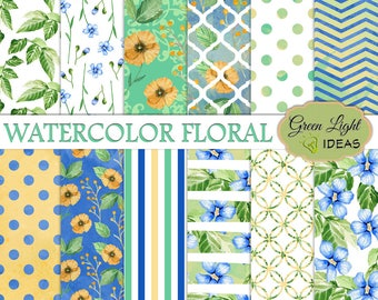 Watercolor Floral Scrapbook Paper, Floral Digital Papers, Watercolor Spring Printable Papers, Commercial Use Blue Green Floral Wedding Paper