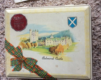 ENGLISH TOFFEE TIN vintage metal box, balmoral castle, Riley's candy, collectible, storage, display